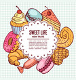 confectionery desserts bakery and cafe vector image
