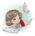 cute cartoon girl with butterfly vector image