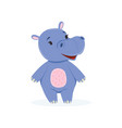 funny baby hippo character cute behemoth african vector image