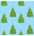 light blue background with new year trees and snow vector image
