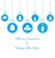 Hanging blue baubles vector image
