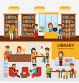 library interior with people reading books vector image