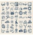 49 hand drawing doodle icon set travel theme vector image