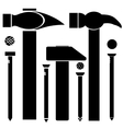 Set of Different Hammers and Nails vector image