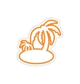 paper sticker Indian palm on white background vector image