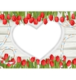 Heart shape frame with tulips EPS 10 vector image