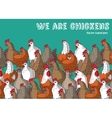 Birds chicken farm animals big group color and sky vector image