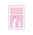 Detergent bottles in case vector image