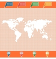 Dotted World map and location pointers vector image