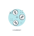 Flat lined coins icon E-currency concept vector image
