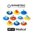 Isometric flat icons set 17 vector image