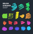 set of abstract ink brush strokes with vector image