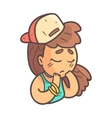 Sad Girl In Cap Choker And Blue Top Hand Drawn vector image