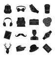 Hipster style set icons in black style Big vector image