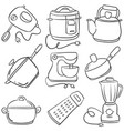 collection kitchen set of doodles vector image