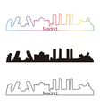Madrid skyline linear style with rainbow vector image