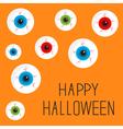Eyeball set with bloody streaks Happy Halloween vector image