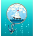 Ship in the sea and anchor vector image