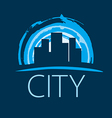 logo evening city at sunset vector image
