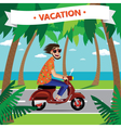 Motorcyclist on the retro scooter vector image