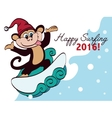 Surfing New Year Monkey Holiday Greeting vector image