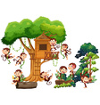 Monkeys playing and climbing up the treehouse vector image