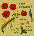 colorful set of ingredients for grilled zucchine vector image