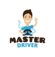 Cute cartoon style mascot driver school vector image