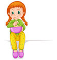 little girl in pajamas eating popcorn vector image