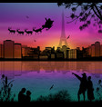 people at night in paris with santa claus and vector image