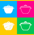 Saucepan simple sign four styles of icon on four vector image