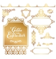 set of floral golden eastern decor frame elements vector image