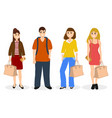 man and three women with bags and backpack vector image