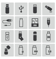 black usb icons set vector image