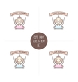 babies with I love Mommy and Daddy ribbons vector image