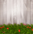 Christmas decoration on old wooden background vector image