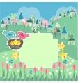 Meadow with spring flowers and birds vector image
