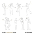 Office party people set thin line vector image