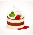 Tiramisu cake with cream and strawberry vector image