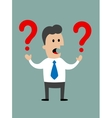 Businessman holding two question marks vector image vector image
