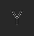 Y letter line logo mockup black and white business vector image