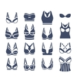 Bra design flat silhouettes icons set vector image