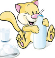 cute kitty with milk isolated on white background vector image