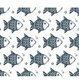Dark blue grunge fishes seamless pattern vector image