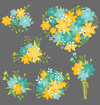 Floral Bouquet in Yellow and Blue vector image