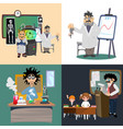 professor and student girl and boy vector image