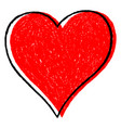 red heart sketch drawing with black contour vector image