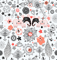 graphic floral texture with elephants vector image vector image