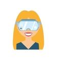 character blonde girl virtual reality glasses vector image