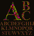 Floral font made with leaves natural alphabet vector image